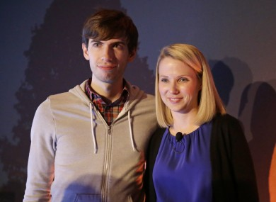 Tumblr boss David Karp and Yahoo CEO Marissa Mayer after the press conference to announce the acquisition