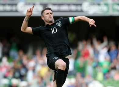 Ireland's Richard Keogh celebrates his goal.