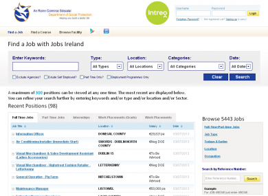 The frontpage of the JobsIreland.ie website