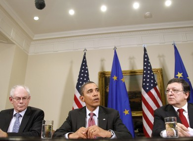 File photo of President Barack Obama, flanked by European Council President Herman Van Rompuy, left, and European Commission President Jose Manuel Barroso.