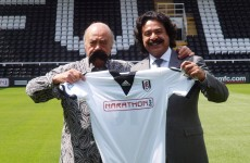 Mohamed Al Fayed greeted Fulham's new owner wearing a fake moustache