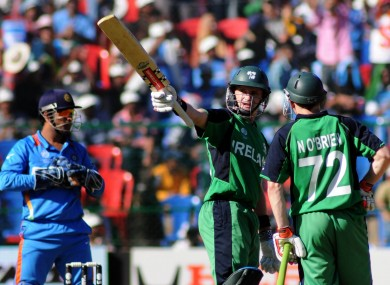Ireland's William Porterfield and Noel O'Brien facing India in 2011.