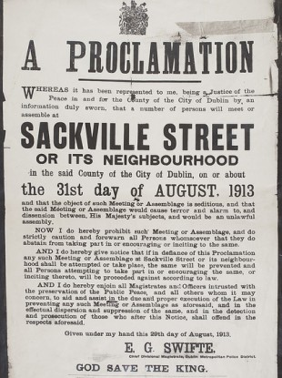 Image of a proclamation by Dublin Metropolitan Police republished with the kind permission of the National Library of Ireland.