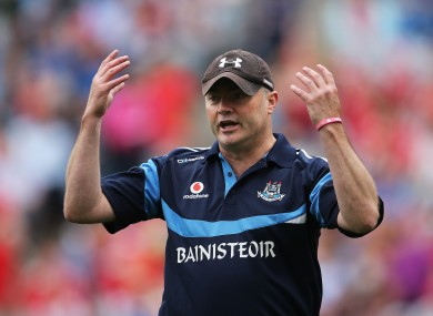 Dublin manager Anthony Daly shows his frustration during yesterday's game.