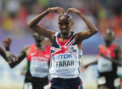 Mo Farah celebrates his 5000m win.