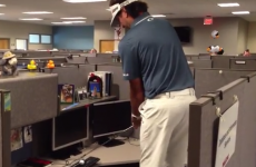 Bubba Watson plays a shot off an ESPN employee's keyboard because he can