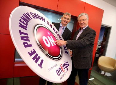 Gary Ryan retail director of Energia and Pat Kenny in Newstalk earlier at the launch of his new sponsorship deal.