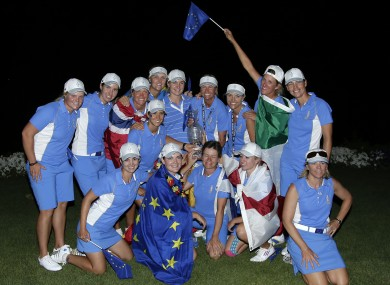 Members of Team Europe pose after winning.