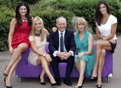 TV3's director of programmes, Jeff Ford, and the Xpose ladies at the Autumn schedule launch.