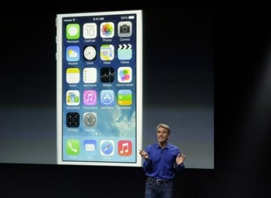 Craig Federighi, senior vice president of Software Engineering at Apple, speaks about the new iOS 7 release in Cupertino, today.