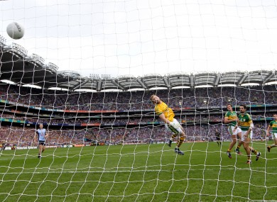 Kerry's goalkeeper Brendan Kealy looks on as Dublin's Kevin McManamon shot crosses the line for Dublin's second goal.