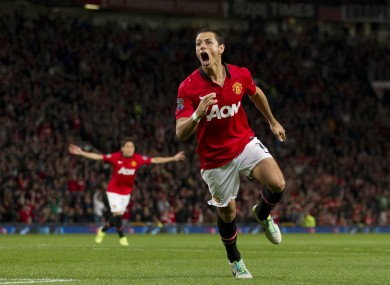 Manchester United's Javier Hernandez celebrates after scoring against Liverpool.