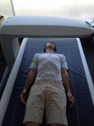 Getting scanned with the cutting-edge sports technology.