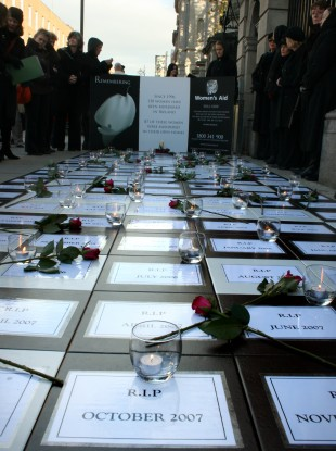 A vigil outside the Dáil in 2007 in memory of women murdered in Ireland.