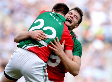 The Mayo players celebrate at the final whistle in September 2012.