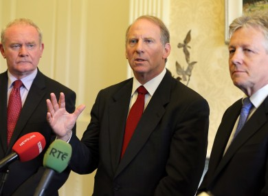 Richard Haass (centre) with Deputy First Minister Martin McGuinness (left) and and First Minister Peter Robinson (right)