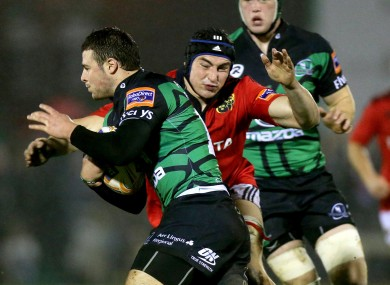 Connacht's Robbie Henshaw and Tommy O'Donnell of Munster.