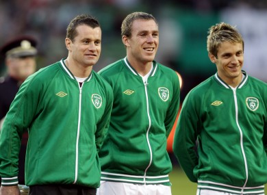 Shay Given (left) and Kevin Doyle (right) are stuck with their clubs but Richard Dunne is all smiles.