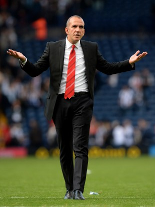 Sunderland manager Paolo Di Canio gestures to the Sunderland fans yesterday.