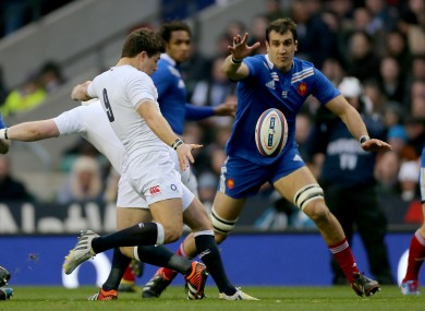 England's Ben Youngs and Yoann Maestri of France.