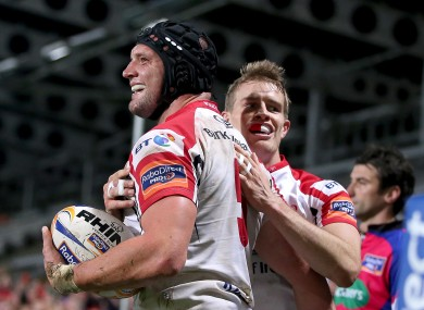 Dan Tuohy celebrates his second try with Andrew Trimble.