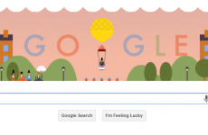 Google's doodlers celebrate the 216th birthday of the parachute jump
