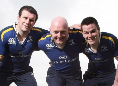 Bernard Jackman (centre) and Jonny Sexton (right) pictured with Shane Jennings in 2009.