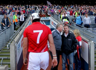 Cork's Seán Óg Ó hAilpín heads down the tunnel after defeat to Galway in 2012.