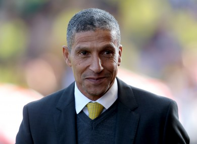 Norwich City manager Chris Hughton prior to kick-off against Stoke at the weekend.