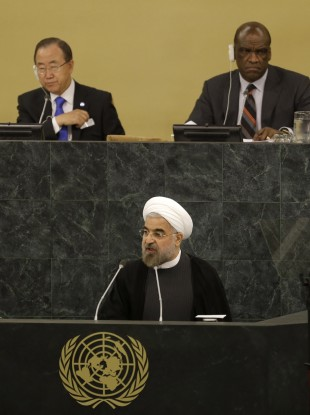 Iran's president Hassan Rouhani speaks at a meeting on nuclear disarmament at the UN last month.