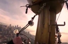 Terrifying video of hanging Christmas lights 600ft off the ground