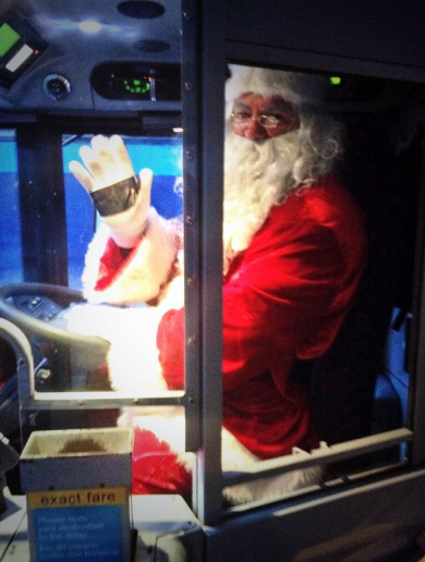 Santa spotted driving a Dublin Bus ahead of his Christmas busy period