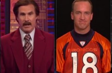 Ron Burgundy interviews Peyton Manning, calls the quarterback a 'succulent baby lamb'