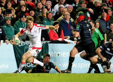 Andrew Trimble evades Ben Youngs.